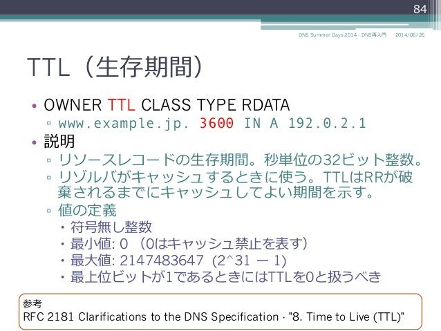 TTL(⽣生存期間) • OWNER TTL CLASS TYPE RDATA ▫ www.example.jp. 3600 IN A 192.0.2.1 • 説明 ▫ リソースレコードの⽣生存期間。秒単位の32ビット整数。 ▫ リゾ...