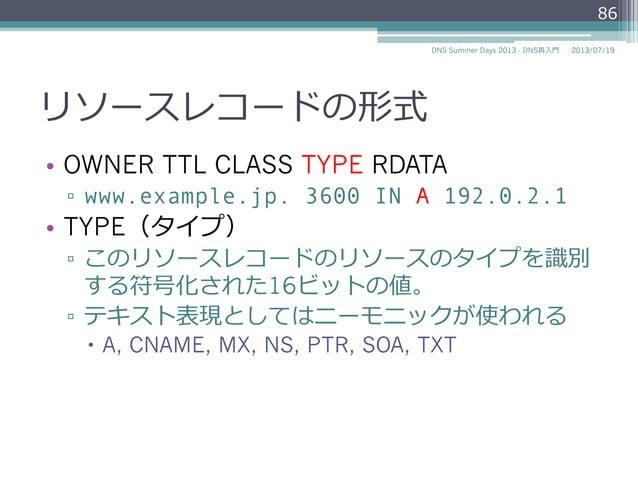 TYPE(タイプ) • OWNER TTL CLASS TYPE RDATA ▫ www.example.jp. 3600 IN A 192.0.2.1 • 説明 ▫ このリソースレコードのリソースのタイプを識識別 する符号化された16...