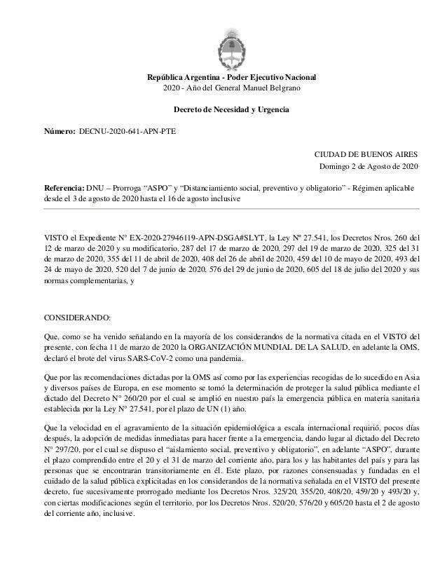 República Argentina - Poder Ejecutivo Nacional 2020 - Año del General Manuel Belgrano Decreto de Necesidad y Urgencia Núme...