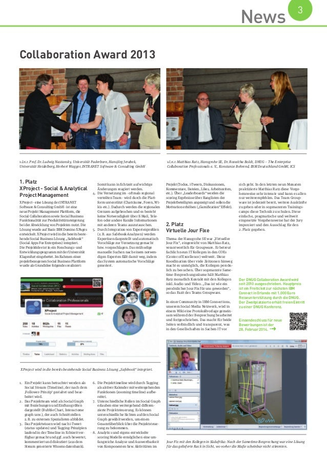 Collaboration Award 2013 News 3 1. Platz XProject - Social & Analytical Project Management XProject– eine Lösung der IN...