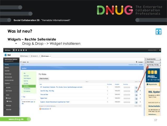 """Social Collaboration 39: """"Vernetzte Informationswelt""""  Was ist neu?   Widgets – Rechte Seitenleiste   • Drag & Drop -..."""