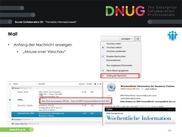 "Social Collaboration 39: ""Vernetzte Informationswelt""  Mail   •  Anfang der Nachricht anzeigen   •  ""Mouse-over Vors..."