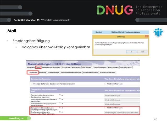 """Social Collaboration 39: """"Vernetzte Informationswelt""""  Mail   •  Empfangsbestätigung   •  Dialogbox über Mail-Policy..."""