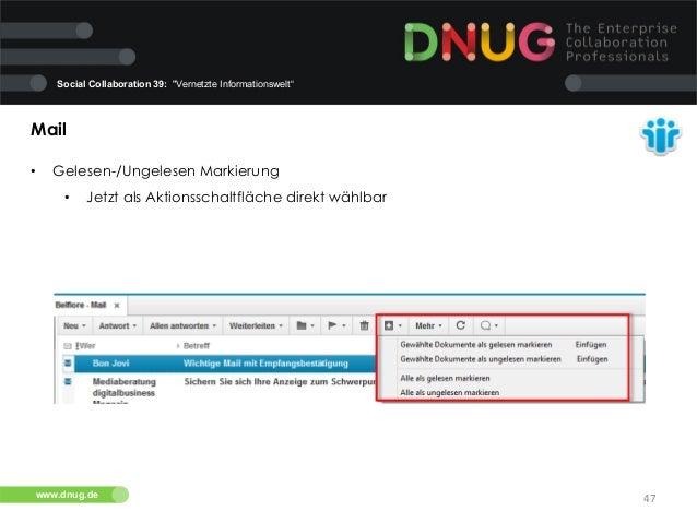"""Social Collaboration 39: """"Vernetzte Informationswelt""""  Mail   •  Gelesen-/Ungelesen Markierung   •  Jetzt als Aktion..."""