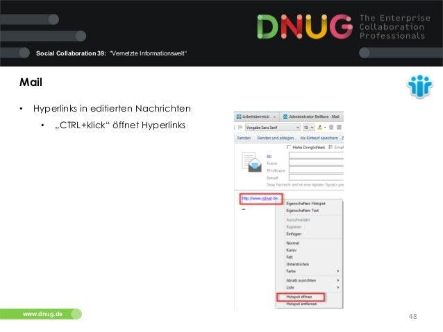 """Social Collaboration 39: """"Vernetzte Informationswelt""""  Mail   •  Hyperlinks in editierten Nachrichten   •  """"CTRL+kli..."""