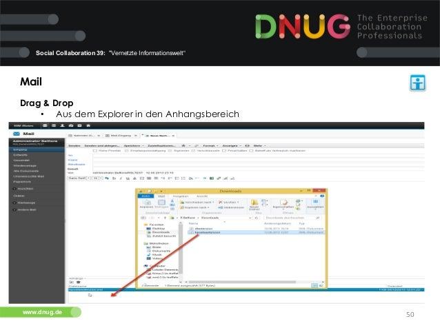 "Social Collaboration 39: ""Vernetzte Informationswelt""  Mail   Drag & Drop   • Aus dem Explorer in den Anhangsbereich..."