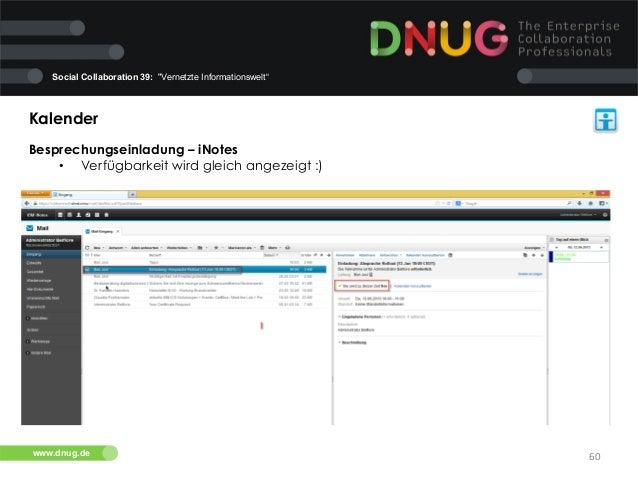 """Social Collaboration 39: """"Vernetzte Informationswelt""""  Kalender   Besprechungseinladung – iNotes   • Verfügbarkeit wi..."""