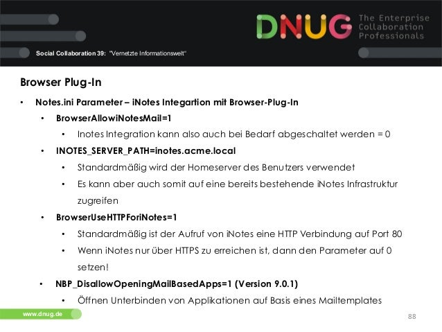 """Social Collaboration 39: """"Vernetzte Informationswelt""""  Browser Plug-In   •  Notes.ini Parameter – iNotes Integartion mi..."""