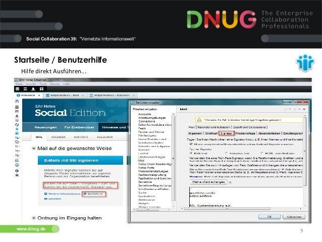 """Social Collaboration 39: """"Vernetzte Informationswelt""""  Startseite / Benutzerhilfe   Hilfe  direkt  Ausführen...   ..."""