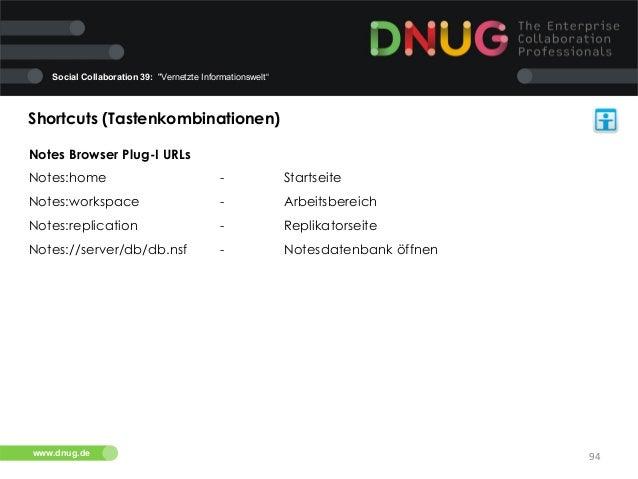 "Social Collaboration 39: ""Vernetzte Informationswelt""  Shortcuts (Tastenkombinationen)   Notes Browser Plug-I URLs Notes..."