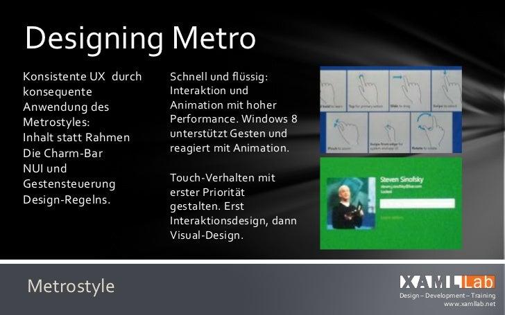 Designing MetroSkallierung über alle   Aktualität und BezugMediengrößen durch      aufbauen durchVektor, XAML, SVG und   L...