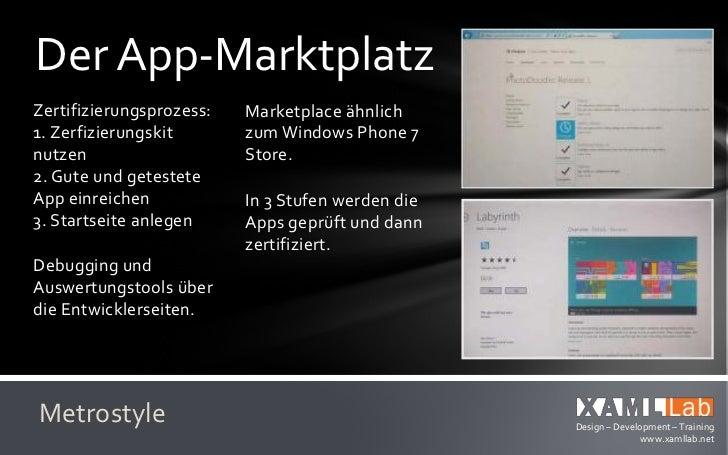 Metro-Apps bauenWahl der                 Klappt in den Demo-Programmiersprache       Apps überzeugend gut.nach Zweck und  ...