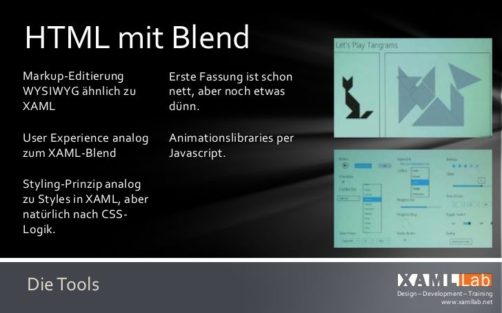 HTML mit BlendDie Styles sind in den   Es gibt analog zu denCSS-Daten integriert     XAML-Templatesund müssen angewandt   ...