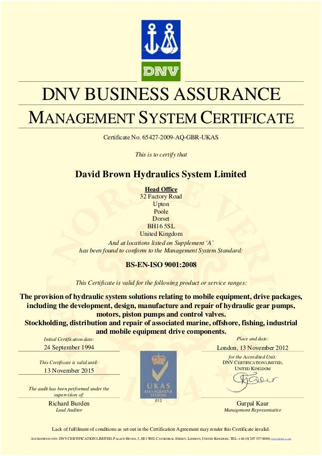 Dnv Iso 9001 2008 Certificate