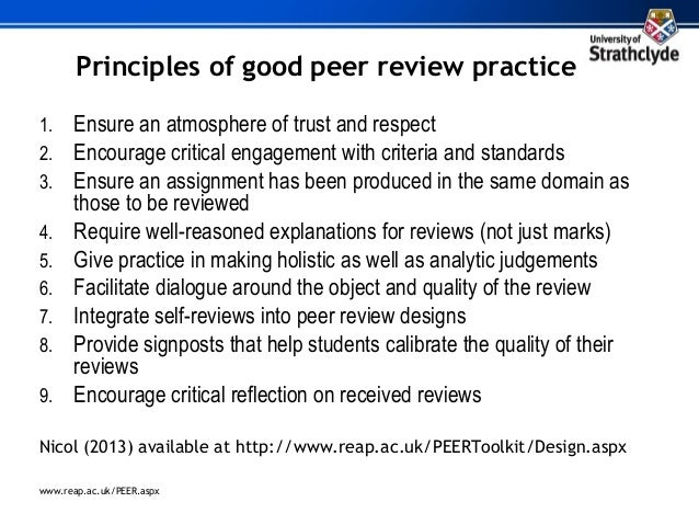 peer review and the development of evaluative skills