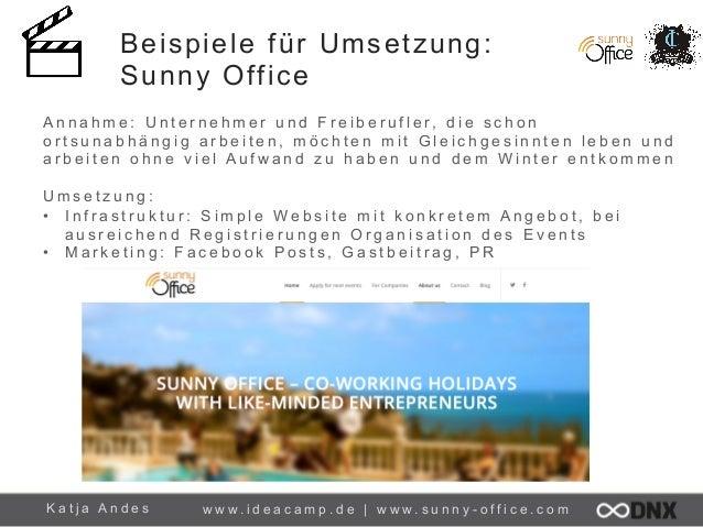Beispiele für Umsetzung: Sunny Office A n n a h m e : U n t e r n e h m e r u n d F r e i b e r u f l e r, d i e s c h o n...
