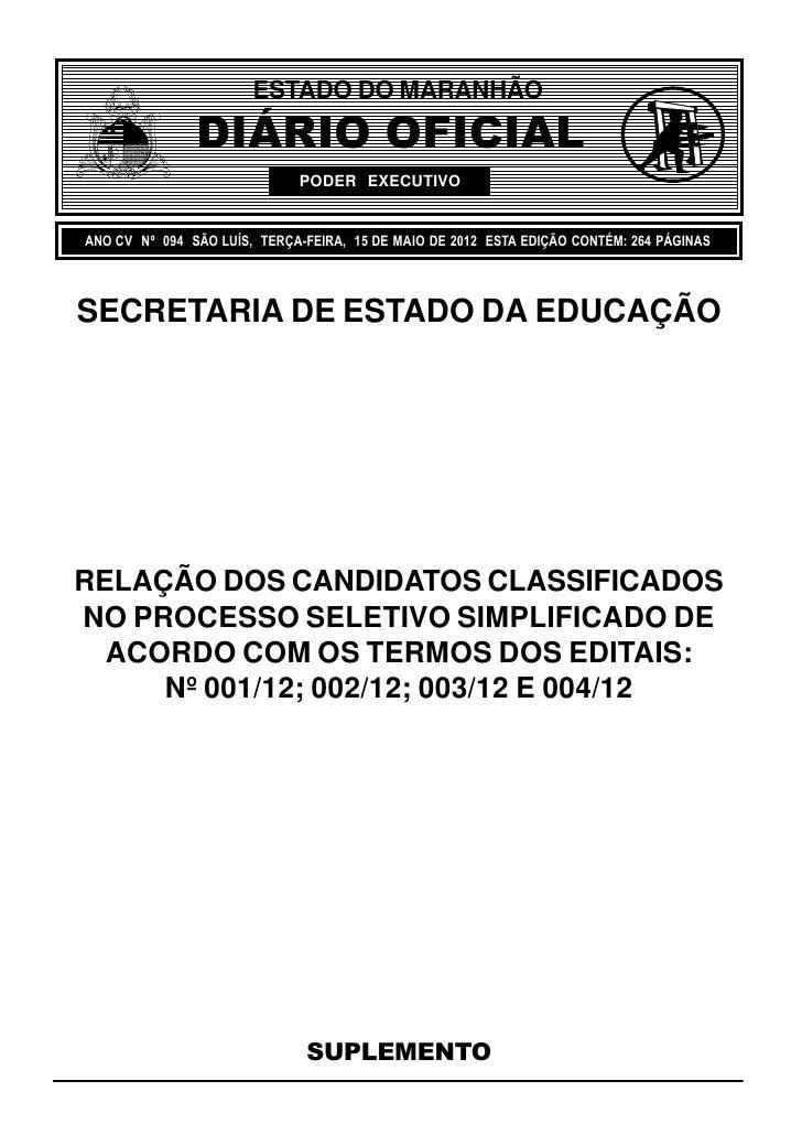 ESTADO DO MARANHÃO               DIÁRIO OFICIAL                             PODER EXECUTIVOANO CV Nº 094 SÃO LUÍS, TERÇA-F...