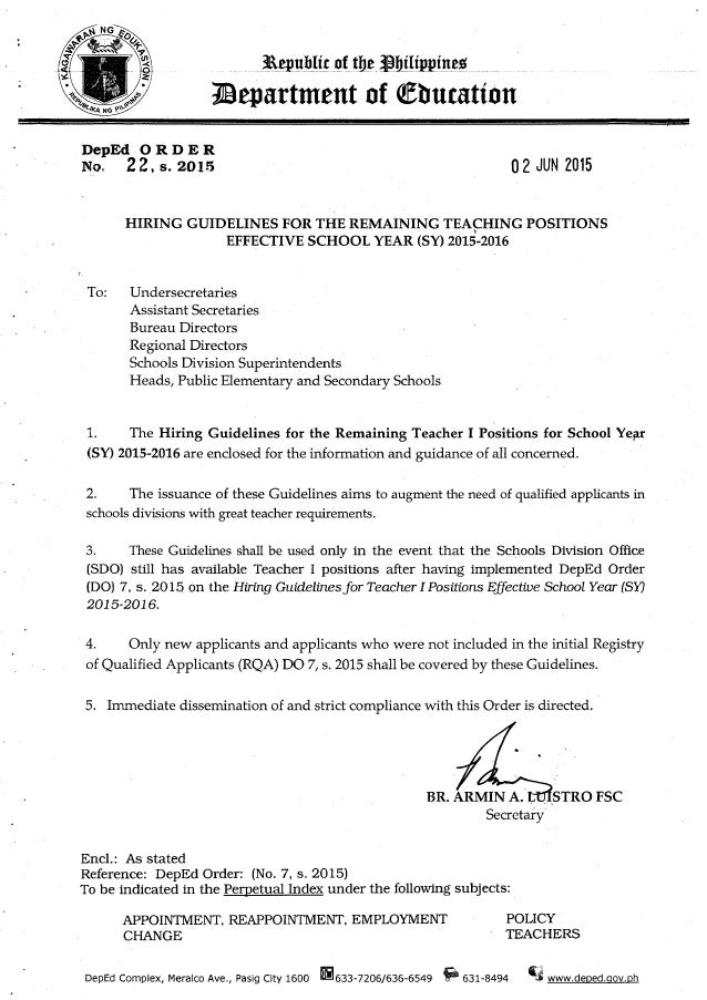do 22 s 2015 hiring guidelines for the remaining teaching positions