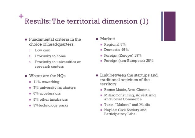 + Results:The territorial dimension (1) n Fundamental criteria in the choice of headquarters: 1. Low cost 2. Proximity...