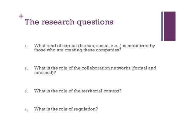 + The research questions 1. What kind of capital (human, social, etc..)is mobilized by those who are creating these comp...