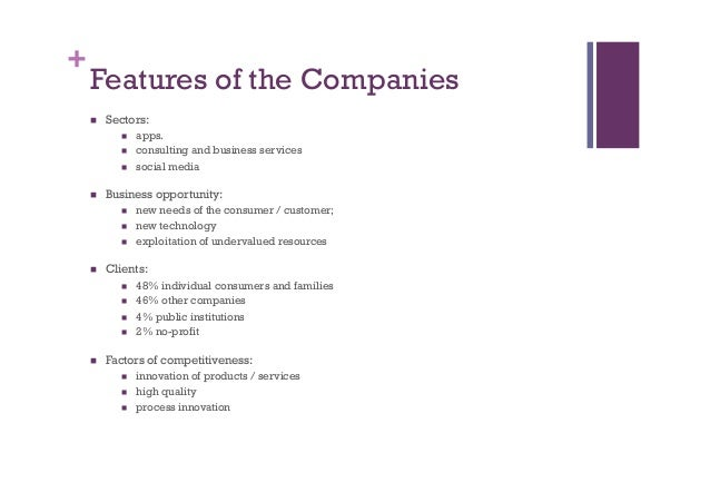 + Features of the Companies n Sectors: n apps. n consulting and business services n social media n Business oppo...
