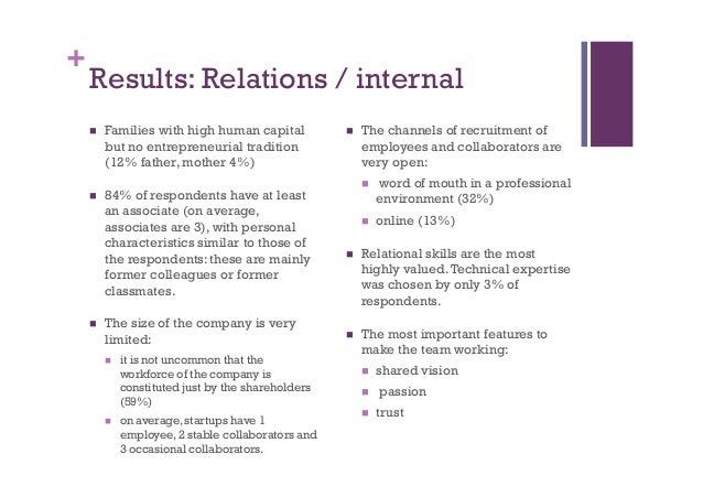 + Results: Relations / internal n Families with high human capital but no entrepreneurial tradition (12% father, mother ...