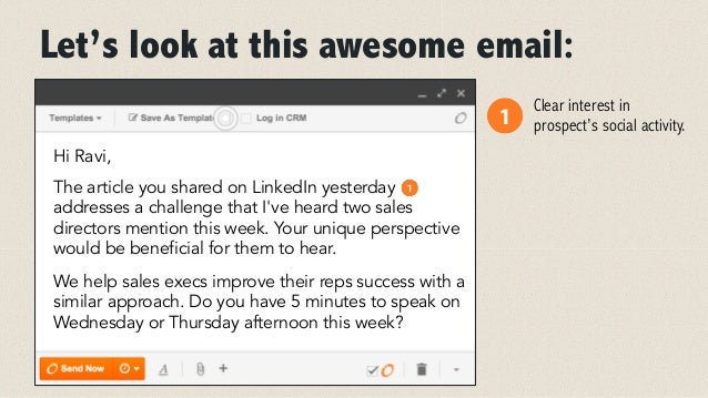 Let's look at this awesome email:  Hi Ravi,  The article you shared on LinkedIn yesterday  addresses a challenge that I've...