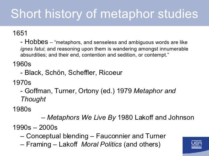 "Short history of metaphor studies <ul><li>1651 - Hobbes  – ""metaphors, and senseless and ambiguous words are like  ignes f..."