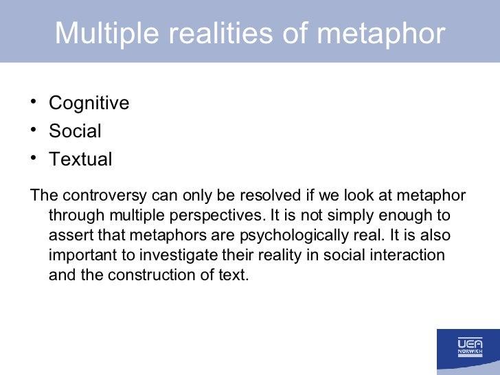 Multiple realities of metaphor <ul><li>Cognitive </li></ul><ul><li>Social </li></ul><ul><li>Textual </li></ul><ul><li>The ...