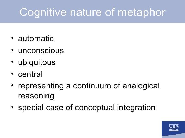 Cognitive nature of metaphor <ul><li>automatic </li></ul><ul><li>unconscious </li></ul><ul><li>ubiquitous </li></ul><ul><l...