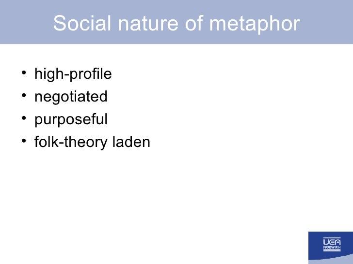 Social nature of metaphor <ul><li>high-profile </li></ul><ul><li>negotiated </li></ul><ul><li>purposeful </li></ul><ul><li...