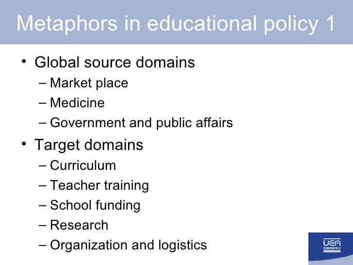 Metaphors in educational policy 1 <ul><li>Global source domains </li></ul><ul><ul><li>Market place </li></ul></ul><ul><ul>...