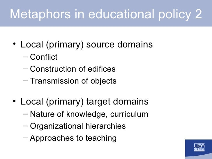 Metaphors in educational policy 2 <ul><li>Local (primary) source domains </li></ul><ul><ul><li>Conflict </li></ul></ul><ul...
