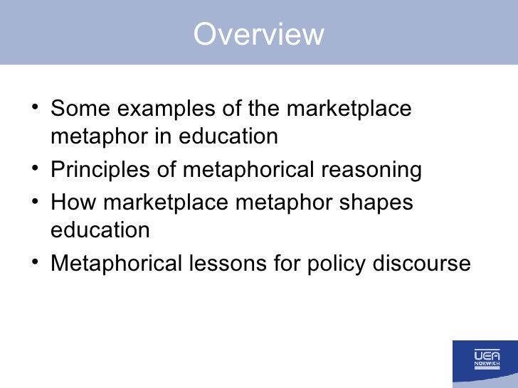 Overview <ul><li>Some examples of the marketplace metaphor in education </li></ul><ul><li>Principles of metaphorical reaso...