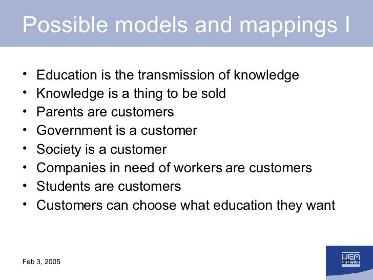 Possible models and mappings I <ul><li>Education is the transmission of knowledge </li></ul><ul><li>Knowledge is a thing t...