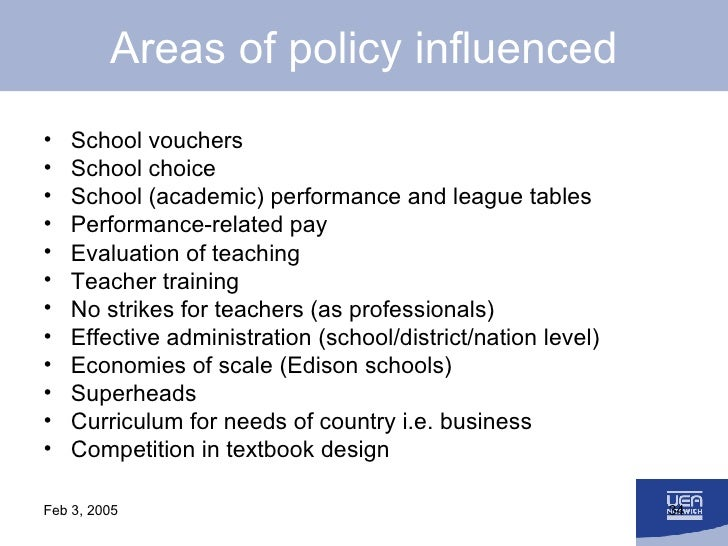 Areas of policy influenced <ul><li>School vouchers </li></ul><ul><li>School choice </li></ul><ul><li>School (academic) per...