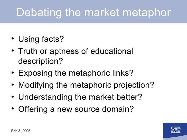 Debating the market metaphor <ul><li>Using facts? </li></ul><ul><li>Truth or aptness of educational description? </li></ul...