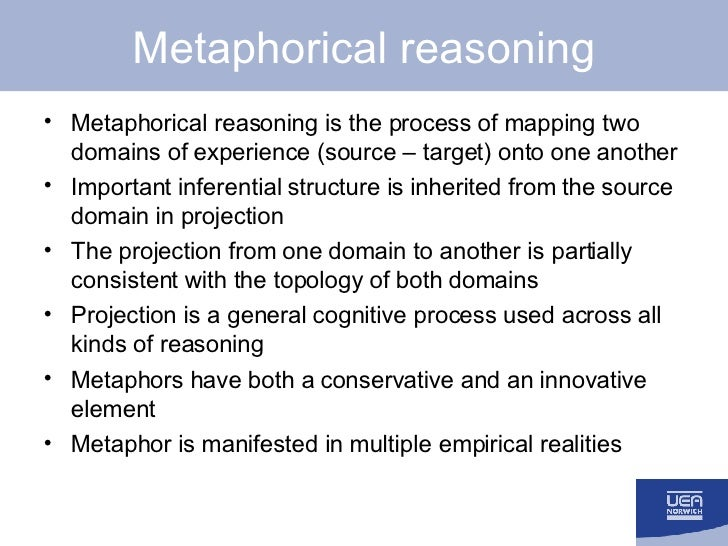Metaphorical reasoning <ul><li>Metaphorical reasoning is the process of mapping two domains of experience (source – target...