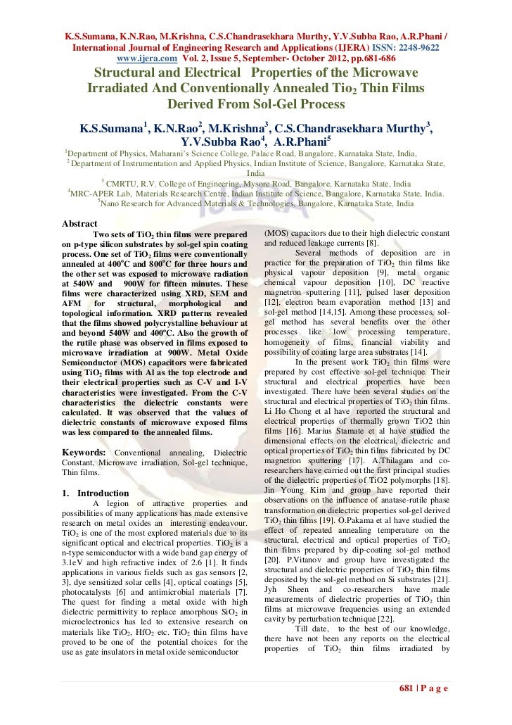 K.S.Sumana, K.N.Rao, M.Krishna, C.S.Chandrasekhara Murthy, Y.V.Subba Rao, A.R.Phani / International Journal of Engineering...