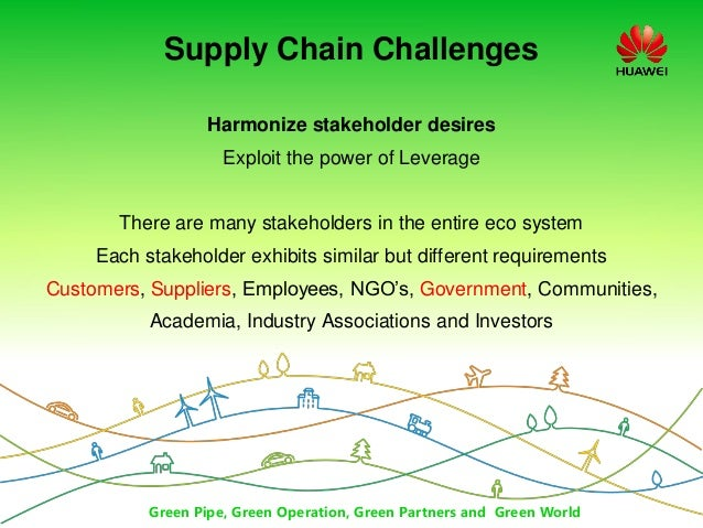 Green Pipe, Green Operation, Green Partners and Green World Supply Chain Challenges Harmonize stakeholder desires Exploit ...