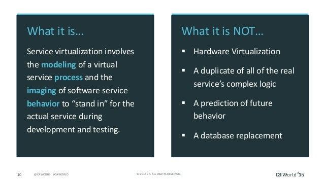 10 ©2016CA.ALLRIGHTSRESERVED.@CAWORLD#CAWORLD Whatitis… Servicevirtualizationinvolves themodeling ofavirt...