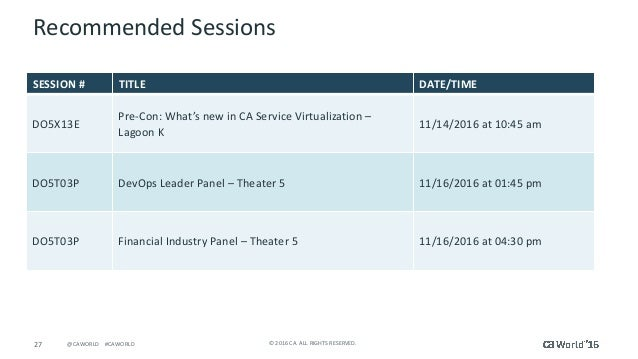 27 ©2016CA.ALLRIGHTSRESERVED.@CAWORLD#CAWORLD RecommendedSessions SESSION# TITLE DATE/TIME DO5X13E Pre-Con:Wha...