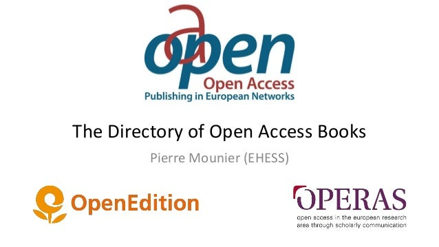 The Directory of Open Access Books Pierre Mounier (EHESS)