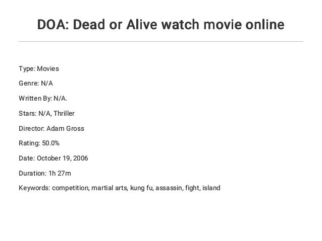 Doa Dead Or Alive Watch Movie Online