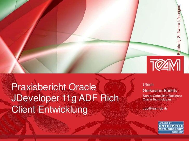 Beratung Software Lösungen                          UlrichPraxisbericht Oracle      Gerkmann-Bartels                      ...