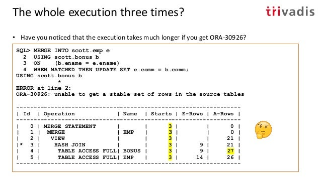 Write Consistency and DML Restarts (UPDATE) Session 1 Session 2 SQL> UPDATE emp 2 SET sal = 1000 3 WHERE ename = 'JAMES'; ...