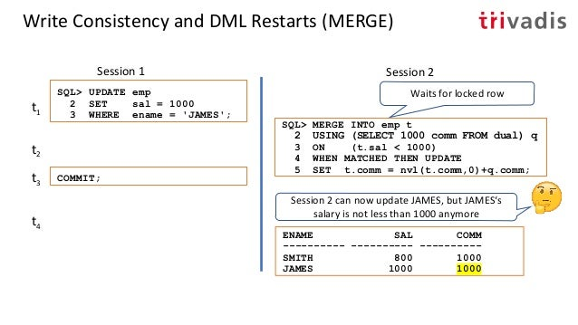 Write Consistency and DML Restarts (MERGE) Session 1 Session 2 SQL> UPDATE emp 2 SET comm = 500 3 WHERE ename = 'JAMES'; t...
