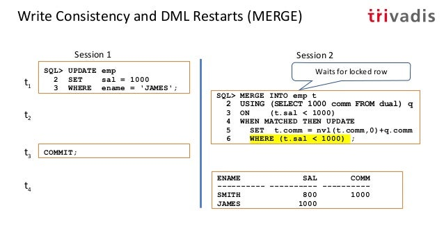 Write Consistency and DML Restart • MERGE can show a different behavior regarding DML restarts • There was a bug until 18c...
