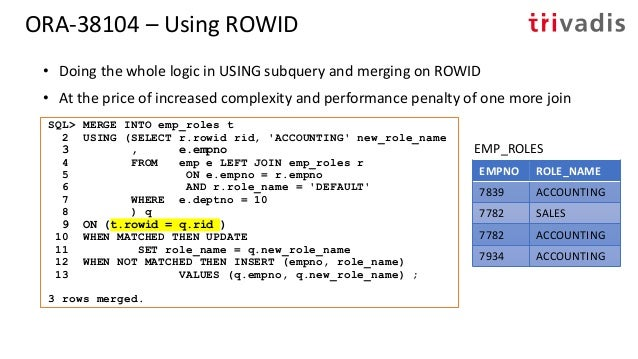 ORA-38104 – Fooling the Parser • Using a view as a merge target and hiding a column inside NVL() EMPNO ROLE_NAME 7839 ACCO...