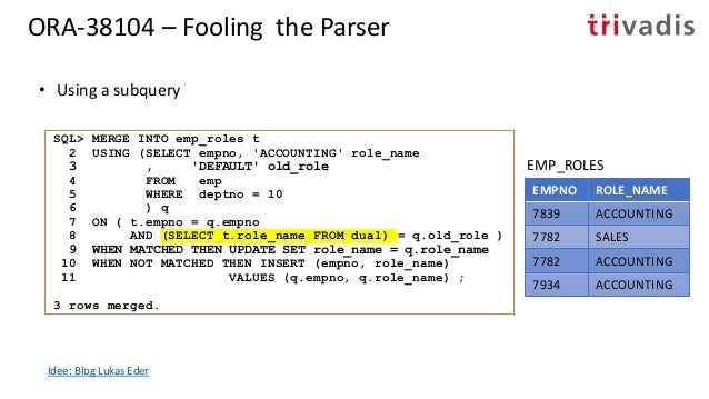 ORA-38104 – Fooling the Parser • Using row value expressions EMPNO ROLE_NAME 7839 ACCOUNTING 7782 SALES 7782 ACCOUNTING 79...